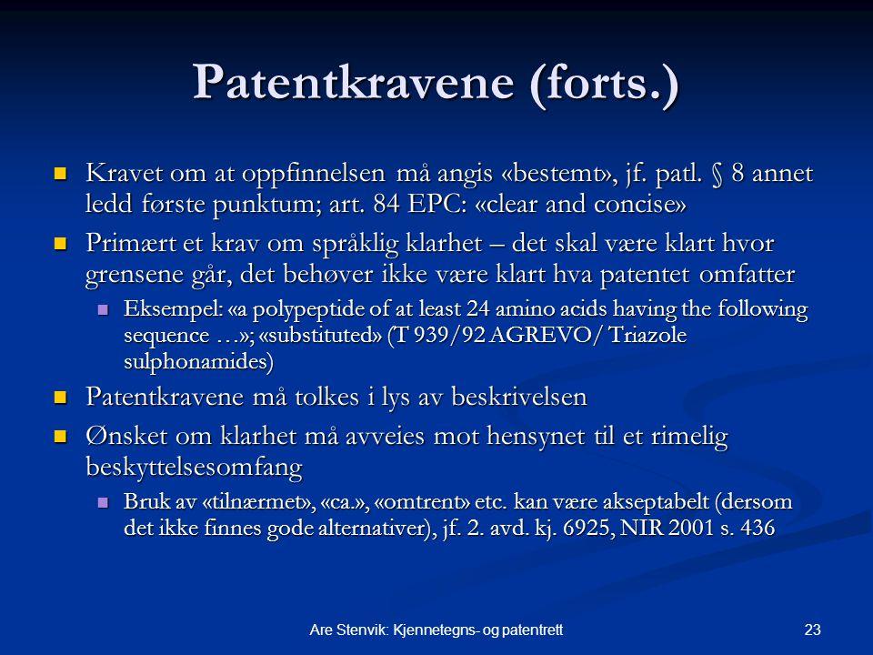 Patentkravene (forts.)