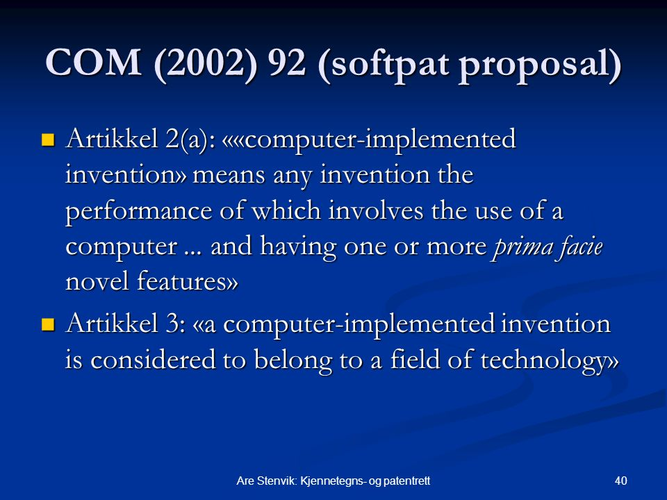 COM (2002) 92 (softpat proposal)