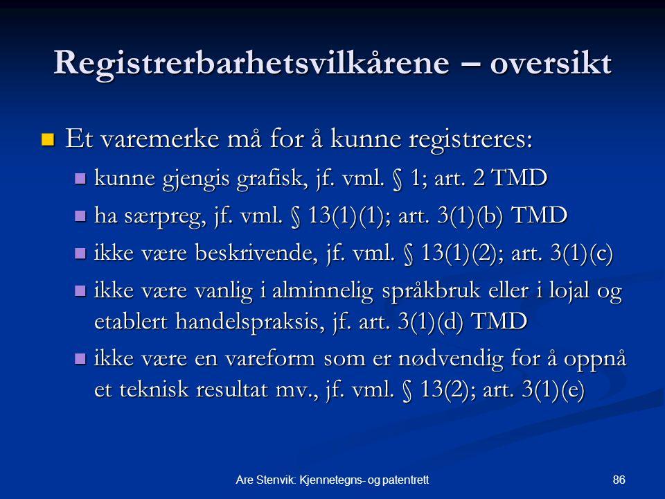 Registrerbarhetsvilkårene – oversikt