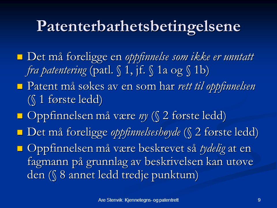 Patenterbarhetsbetingelsene