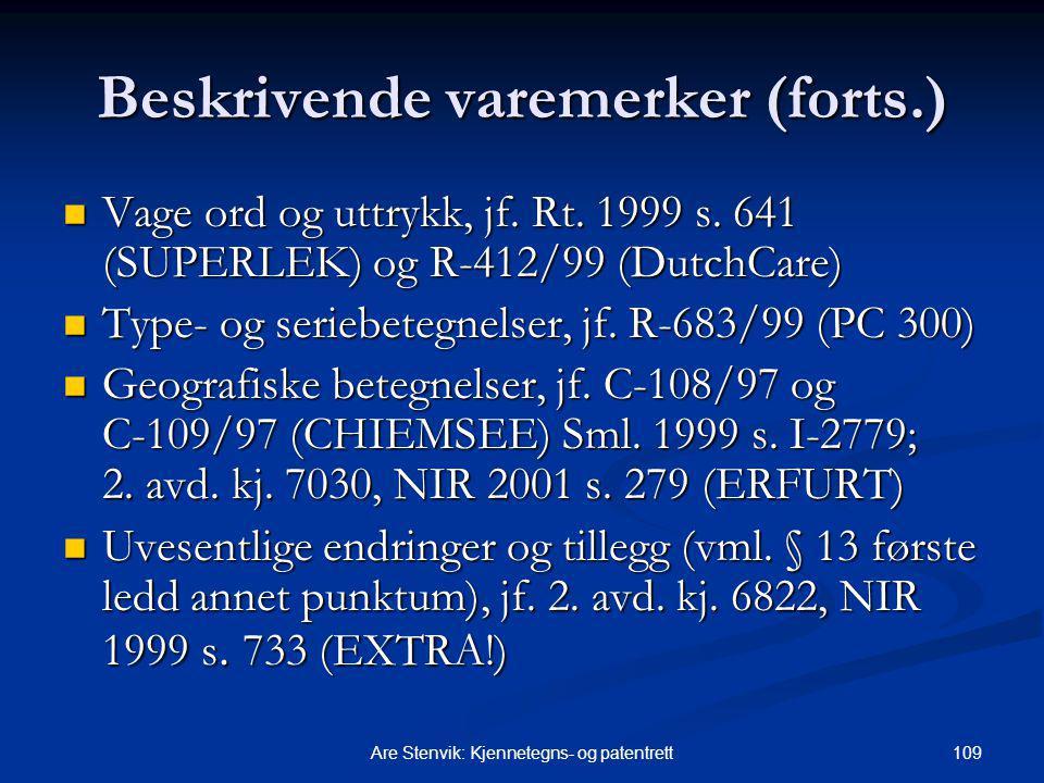 Beskrivende varemerker (forts.)