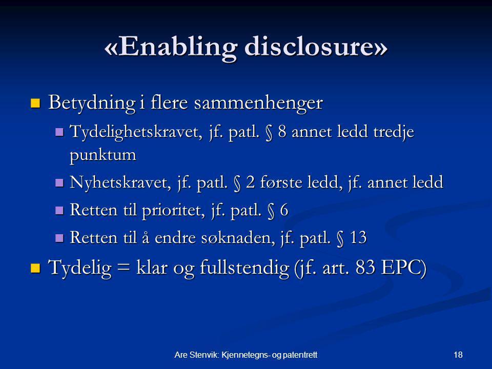 «Enabling disclosure»