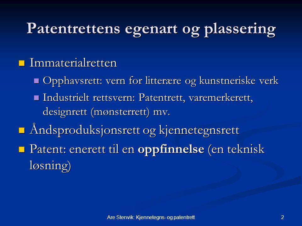 Patentrettens egenart og plassering