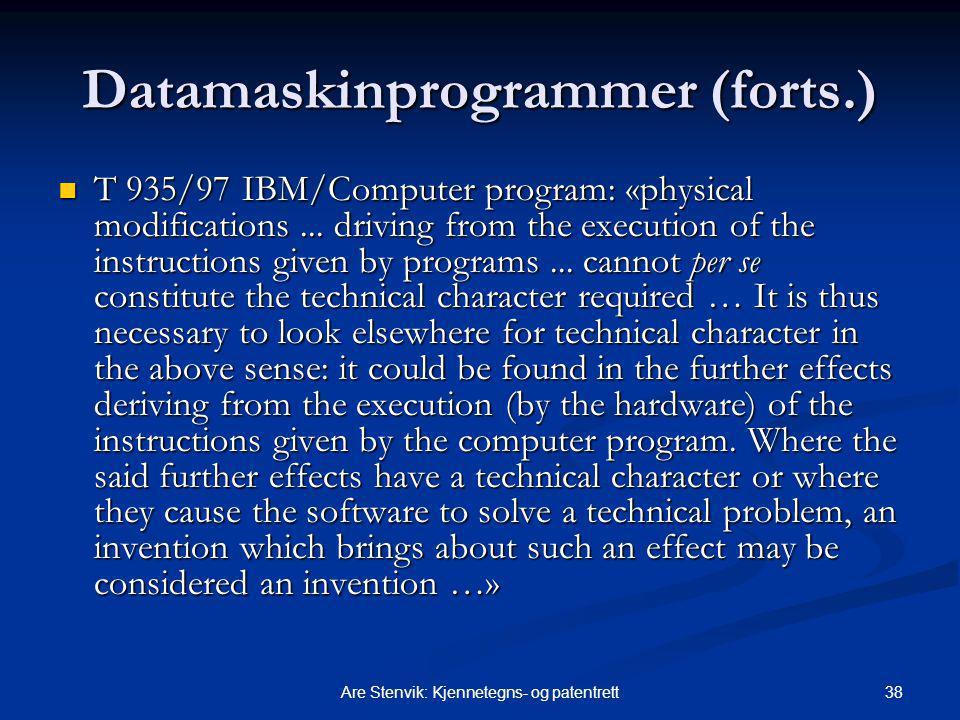 Datamaskinprogrammer (forts.)