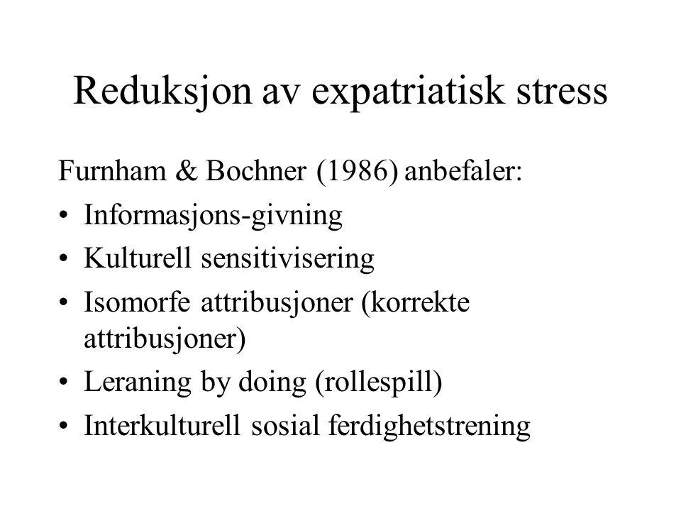Reduksjon av expatriatisk stress