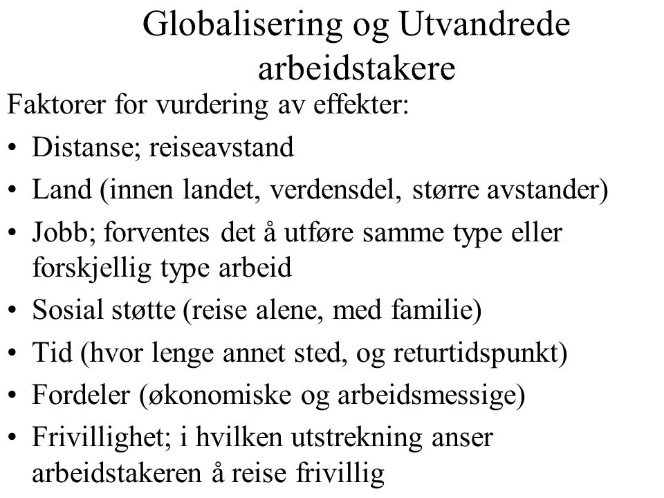 Globalisering og Utvandrede arbeidstakere