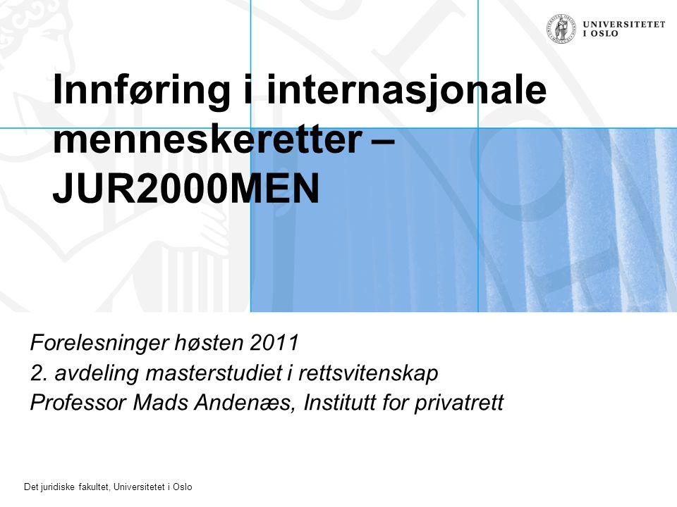 Innføring i internasjonale menneskeretter – JUR2000MEN