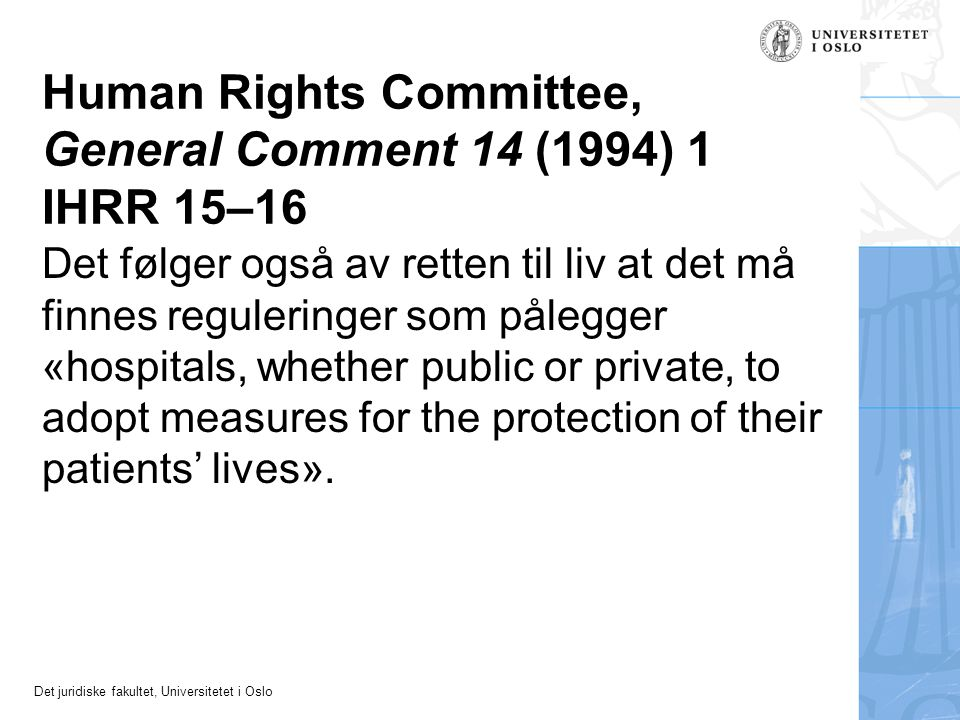 Human Rights Committee, General Comment 14 (1994) 1 IHRR 15–16