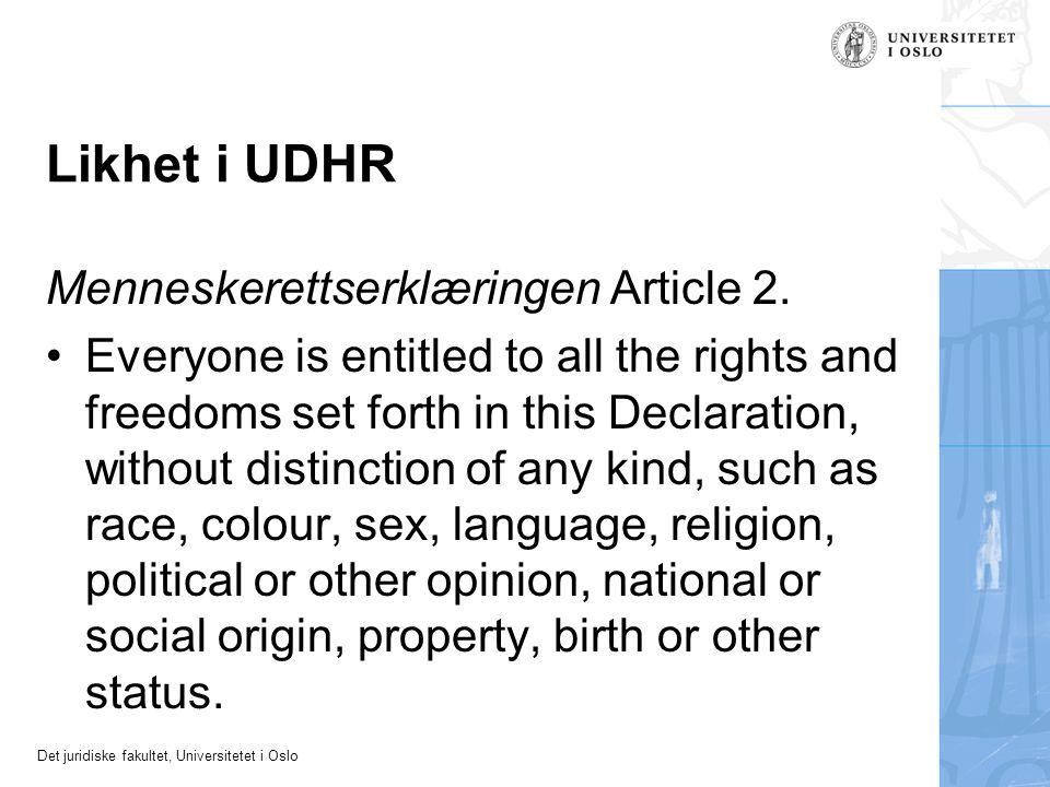Likhet i UDHR Menneskerettserklæringen Article 2.