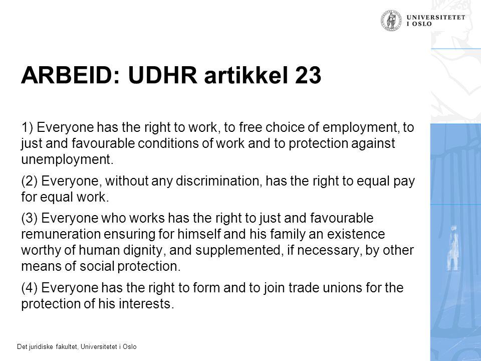 ARBEID: UDHR artikkel 23