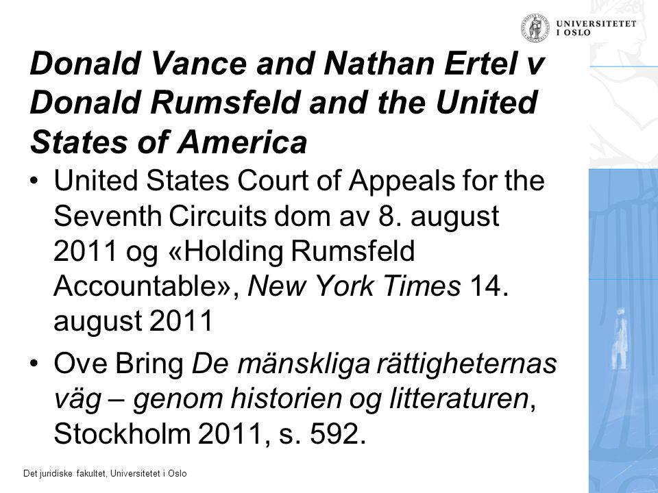 Donald Vance and Nathan Ertel v Donald Rumsfeld and the United States of America