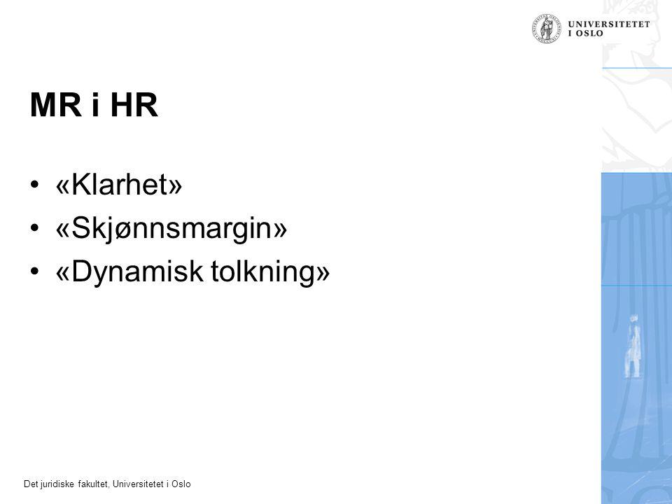 MR i HR «Klarhet» «Skjønnsmargin» «Dynamisk tolkning»