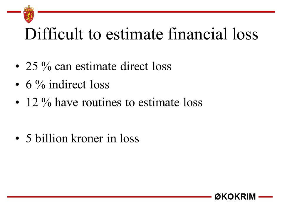 Difficult to estimate financial loss