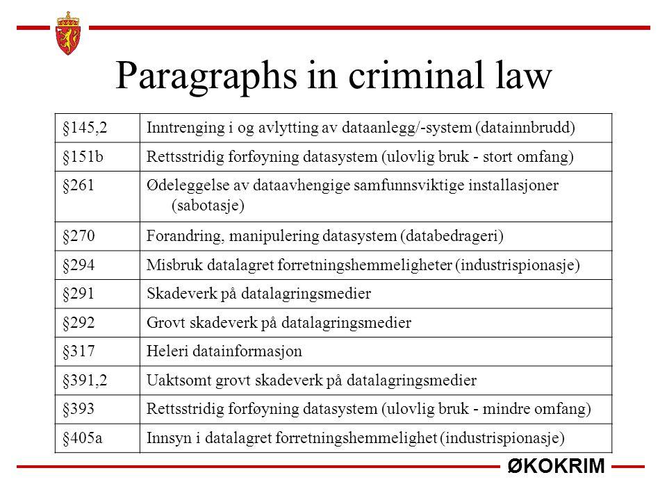 Paragraphs in criminal law