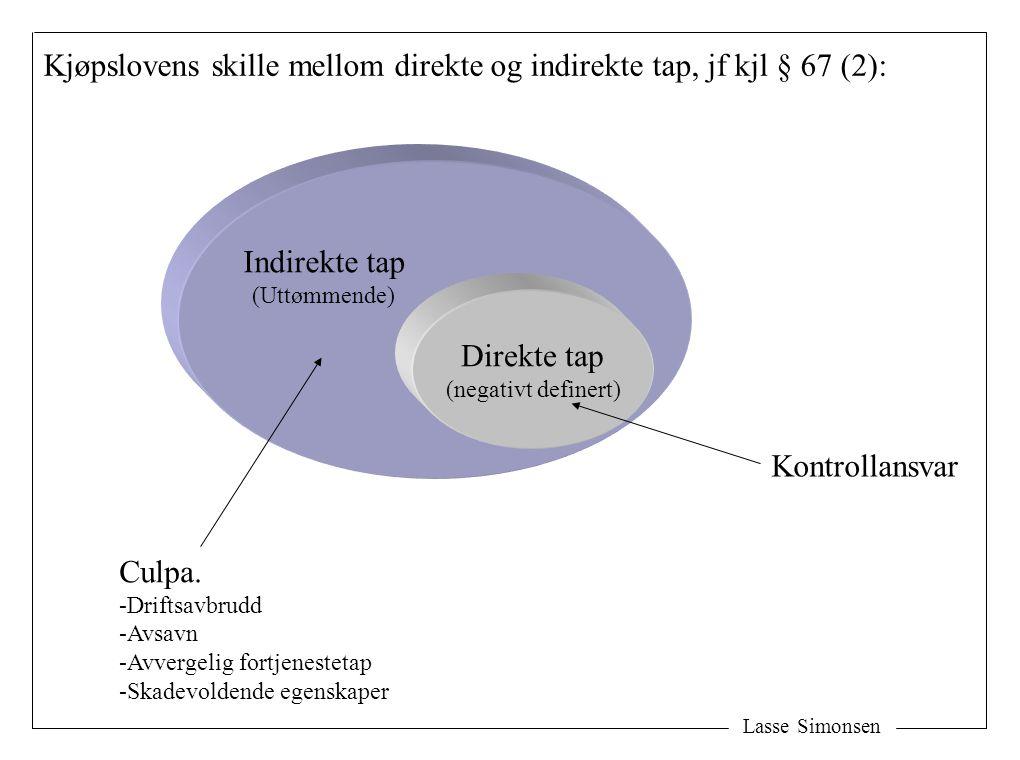 Kjøpslovens skille mellom direkte og indirekte tap, jf kjl § 67 (2):