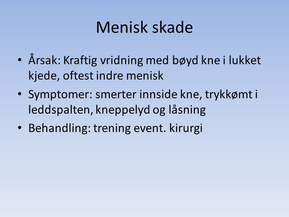 Menisk skade Årsak: Kraftig vridning med bøyd kne i lukket kjede, oftest indre menisk.