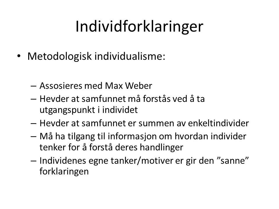 Individforklaringer Metodologisk individualisme: