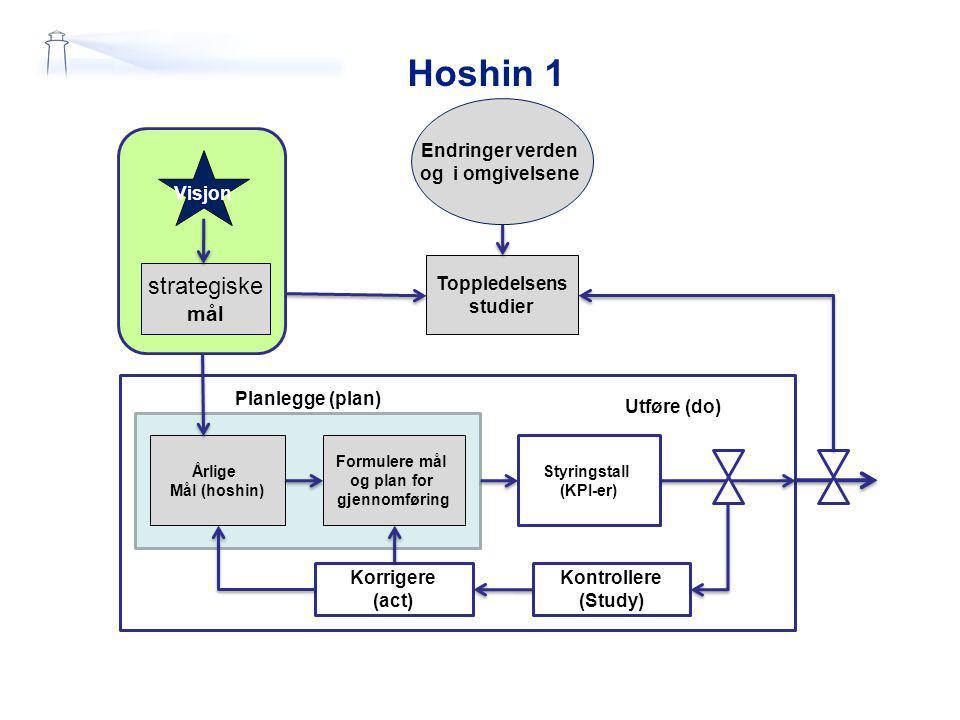 Hoshin 1 strategiske mål Endringer verden og i omgivelsene Visjon