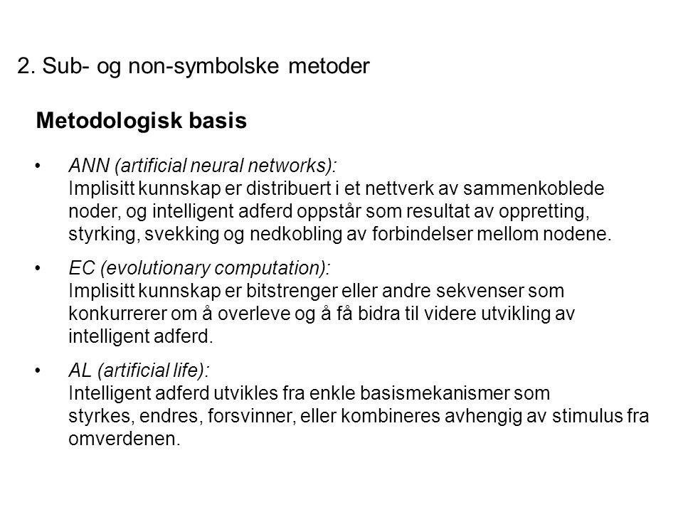 2. Sub- og non-symbolske metoder Metodologisk basis