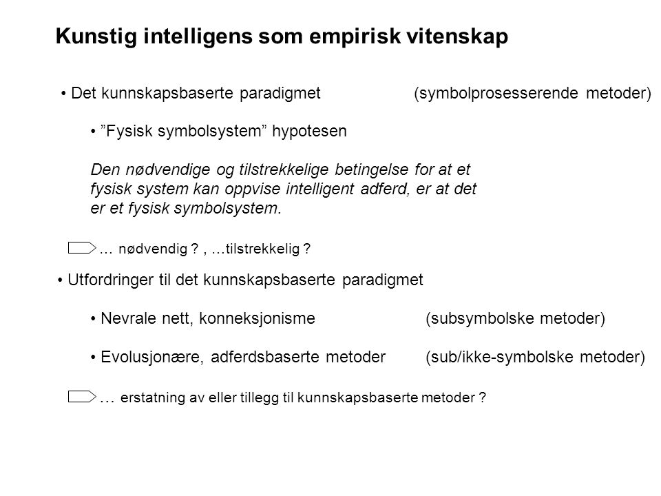 Kunstig intelligens som empirisk vitenskap
