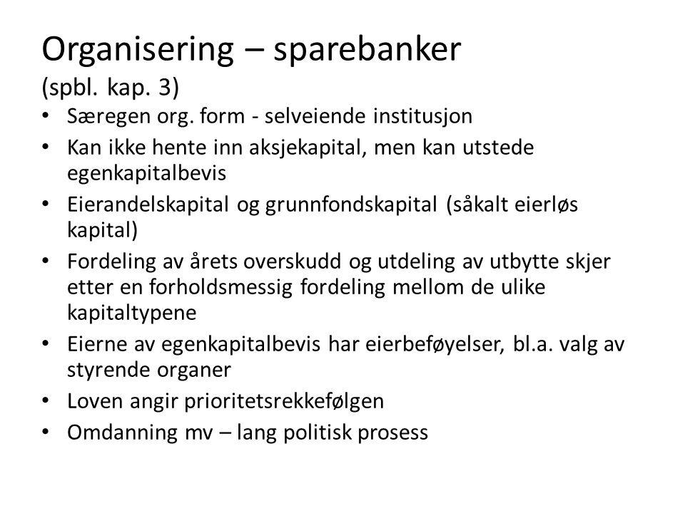 Organisering – sparebanker (spbl. kap. 3)