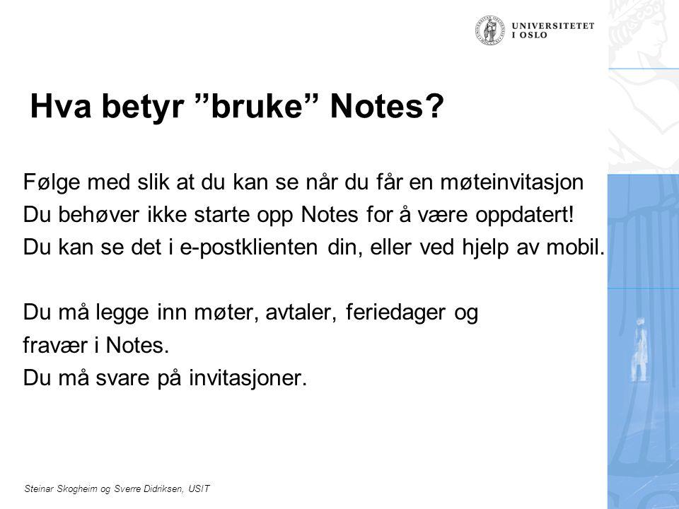 Hva betyr bruke Notes