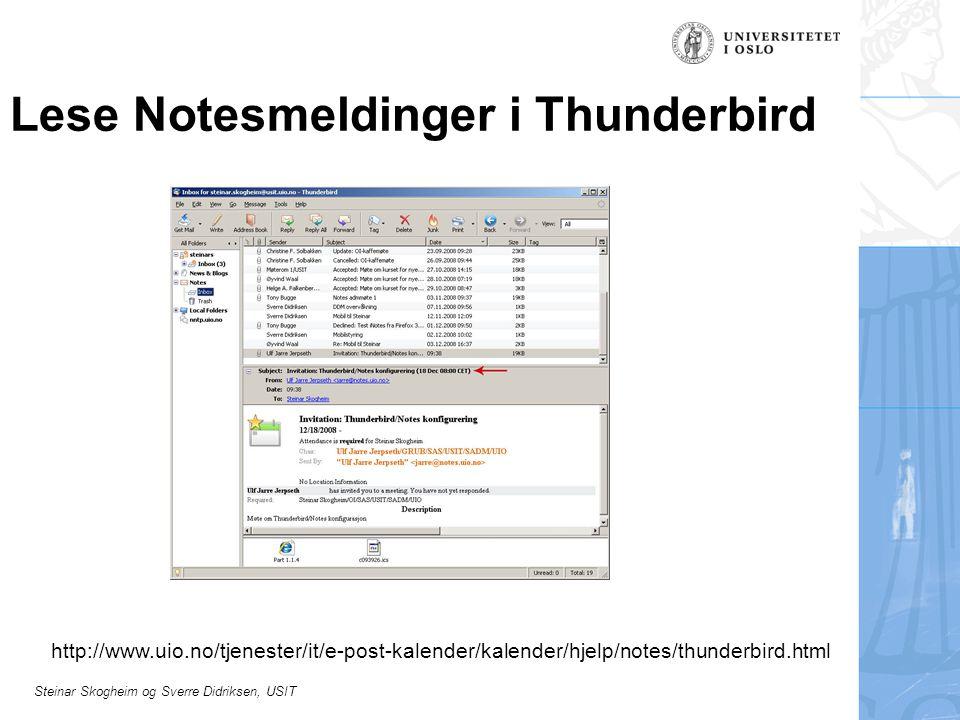 Lese Notesmeldinger i Thunderbird