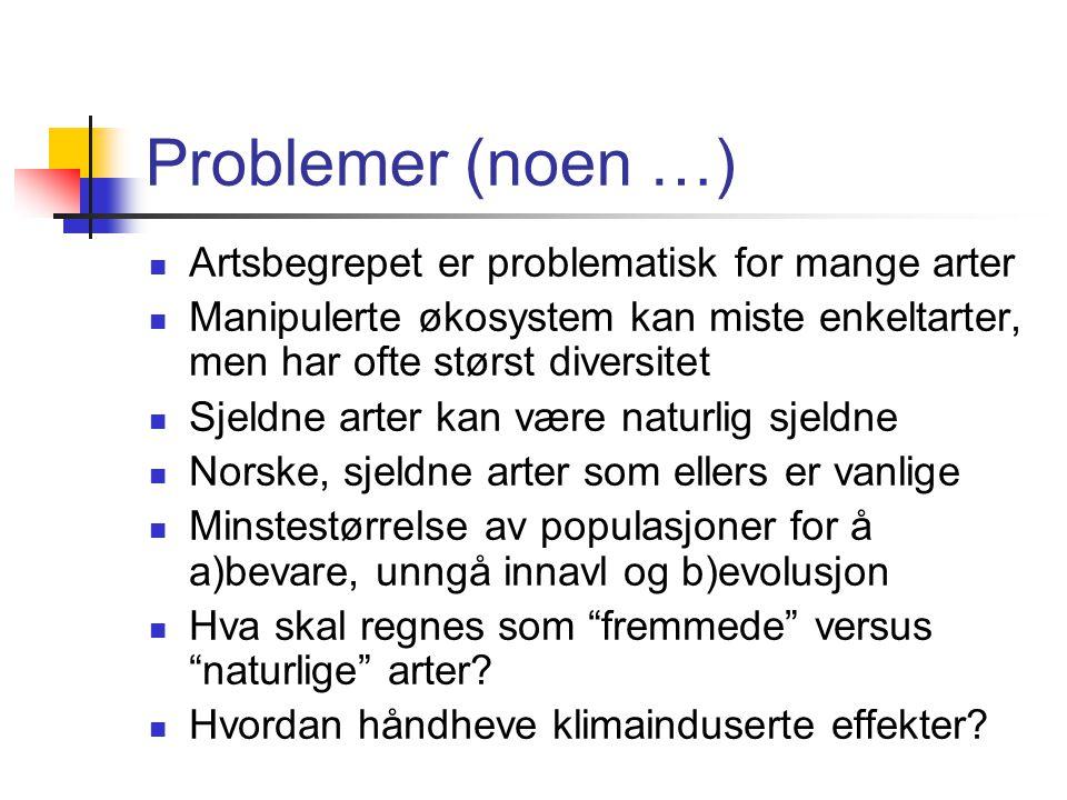 Problemer (noen …) Artsbegrepet er problematisk for mange arter