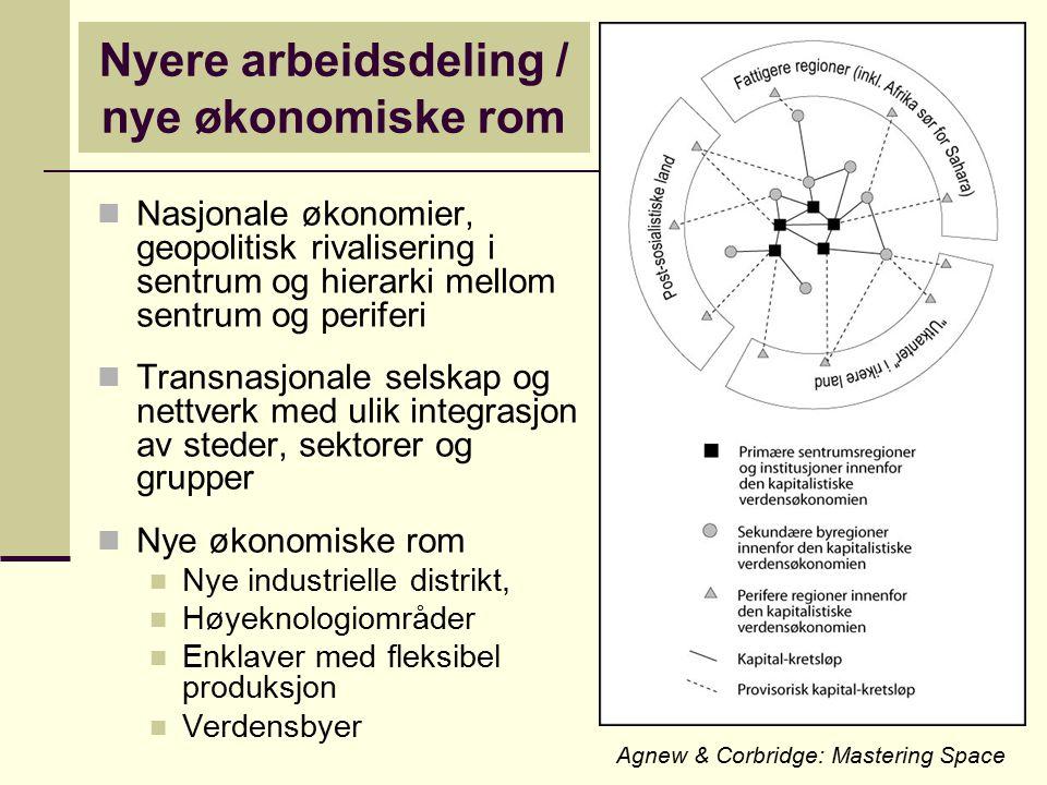 Nyere arbeidsdeling / nye økonomiske rom