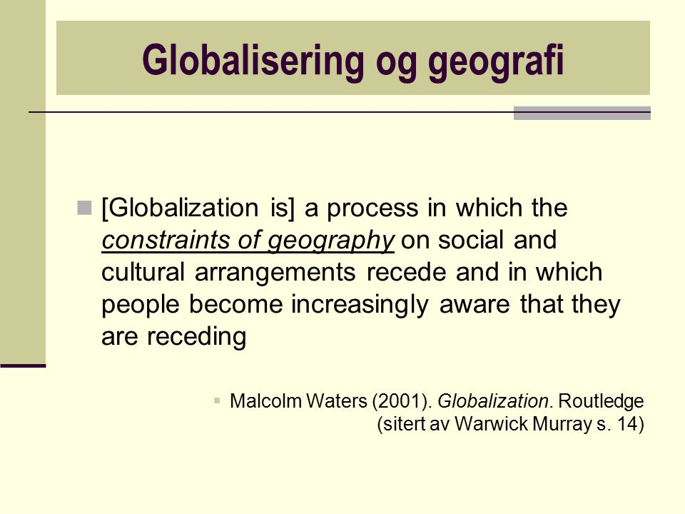 Globalisering og geografi