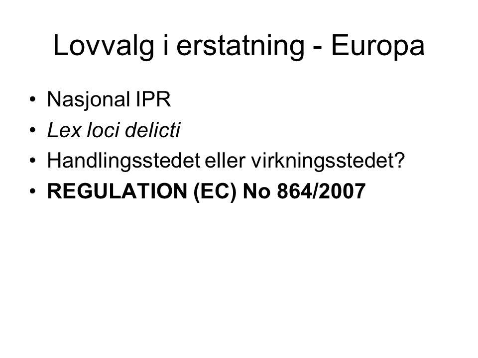 Lovvalg i erstatning - Europa