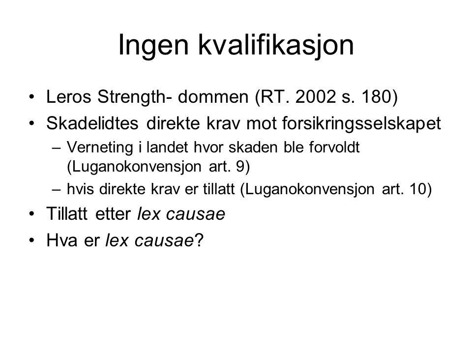 Ingen kvalifikasjon Leros Strength- dommen (RT. 2002 s. 180)