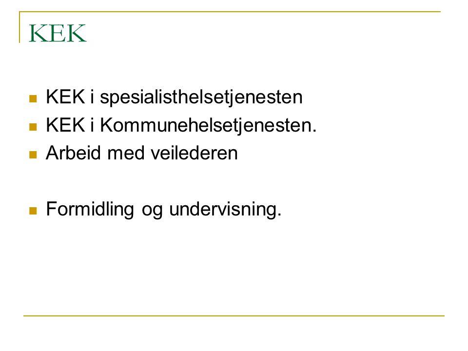 KEK KEK i spesialisthelsetjenesten KEK i Kommunehelsetjenesten.