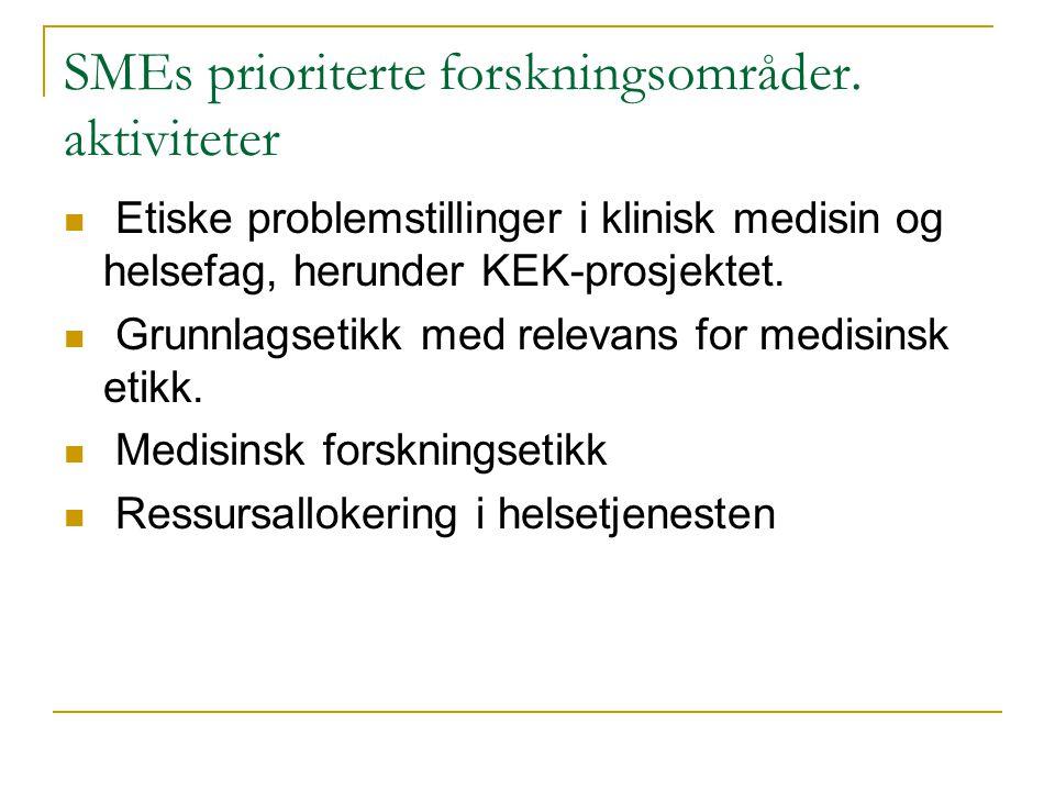 SMEs prioriterte forskningsområder. aktiviteter