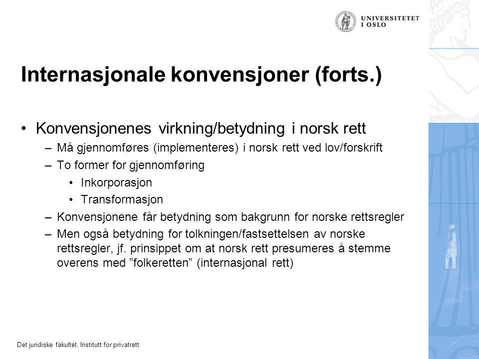 Internasjonale konvensjoner (forts.)