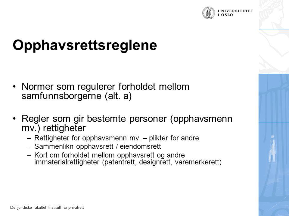 Opphavsrettsreglene Normer som regulerer forholdet mellom samfunnsborgerne (alt. a) Regler som gir bestemte personer (opphavsmenn mv.) rettigheter.