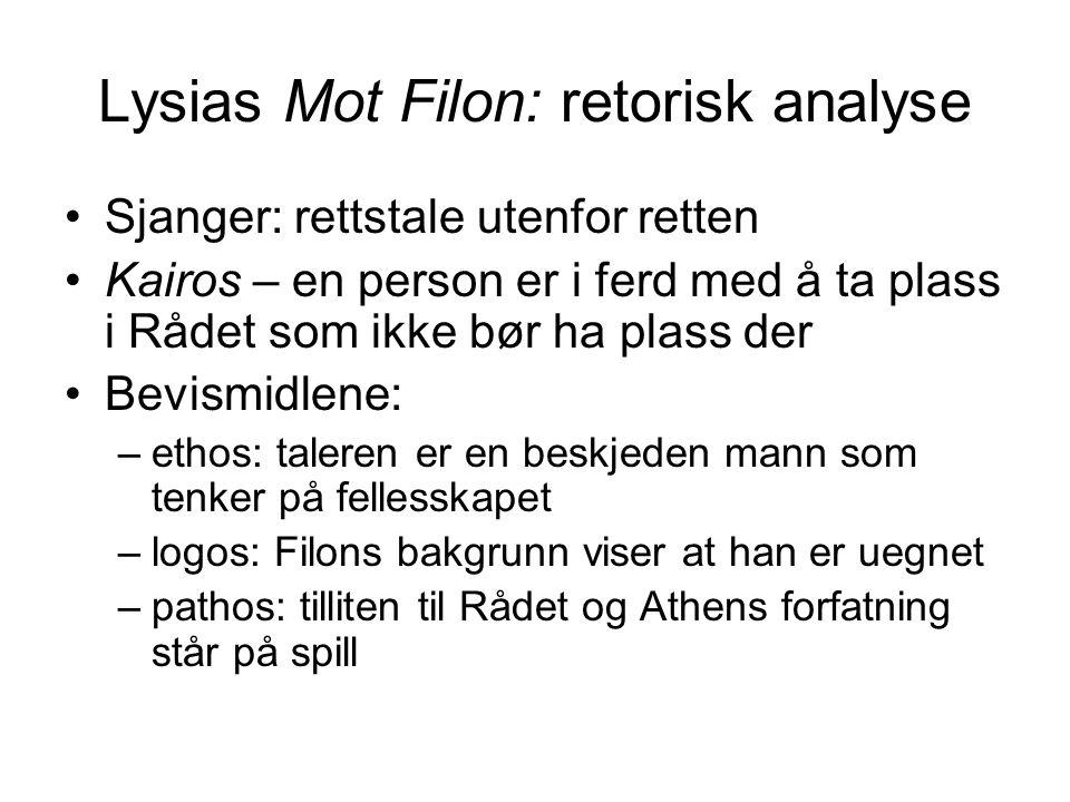 Lysias Mot Filon: retorisk analyse