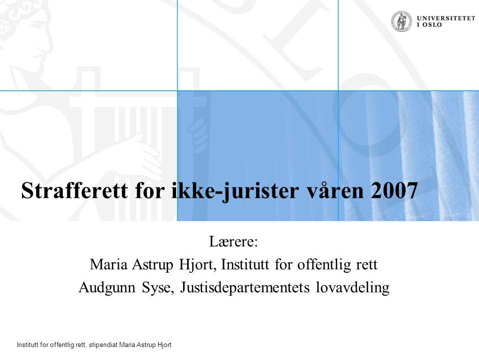 Strafferett for ikke-jurister våren 2007
