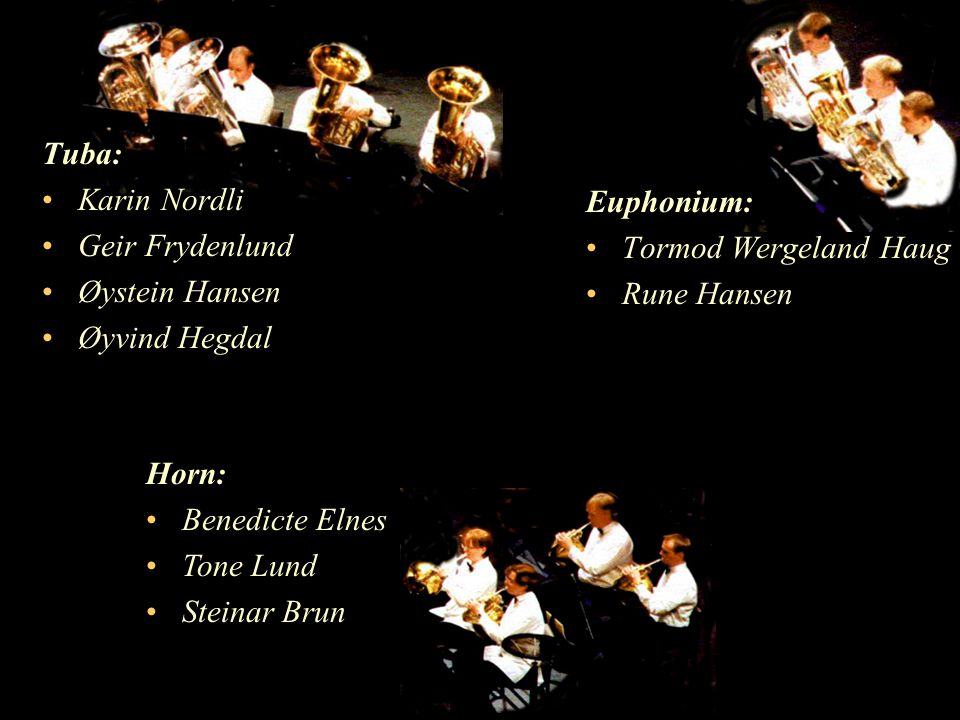 Tuba: Karin Nordli. Geir Frydenlund. Øystein Hansen. Øyvind Hegdal. Euphonium: Tormod Wergeland Haug.