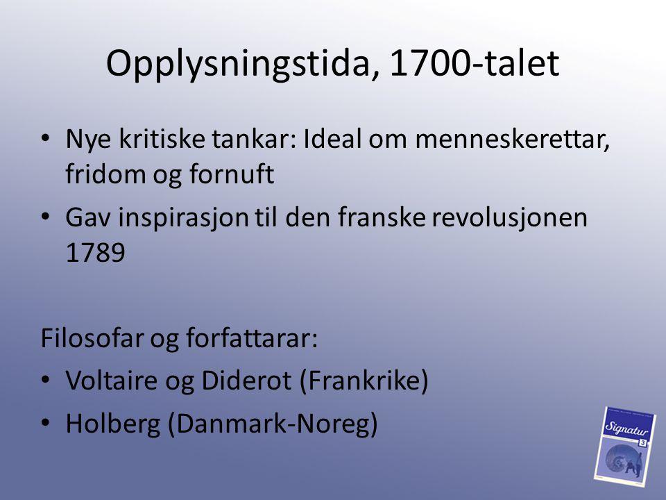 Opplysningstida, 1700-talet