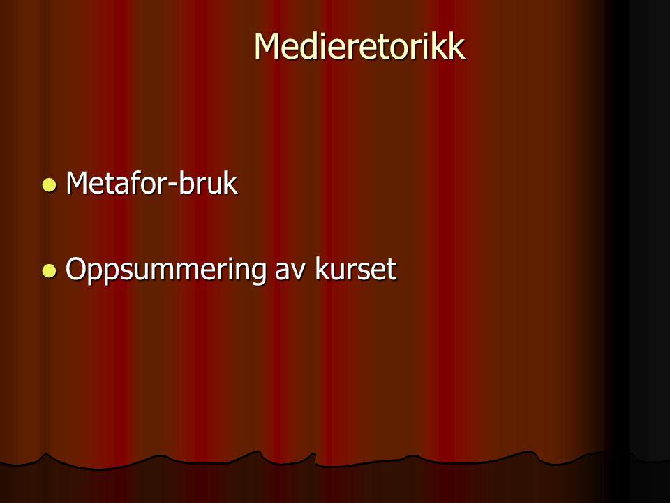Medieretorikk Metafor-bruk Oppsummering av kurset
