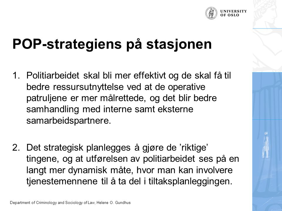 POP-strategiens på stasjonen