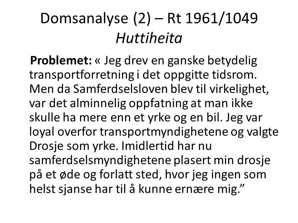 Domsanalyse (2) – Rt 1961/1049 Huttiheita