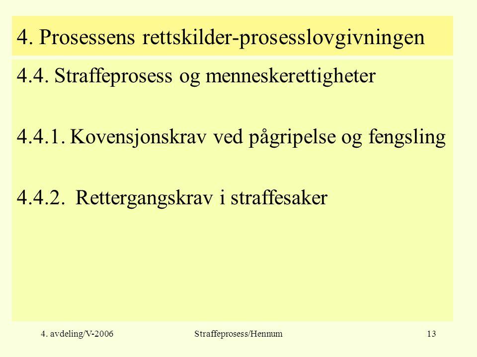 4. Prosessens rettskilder-prosesslovgivningen