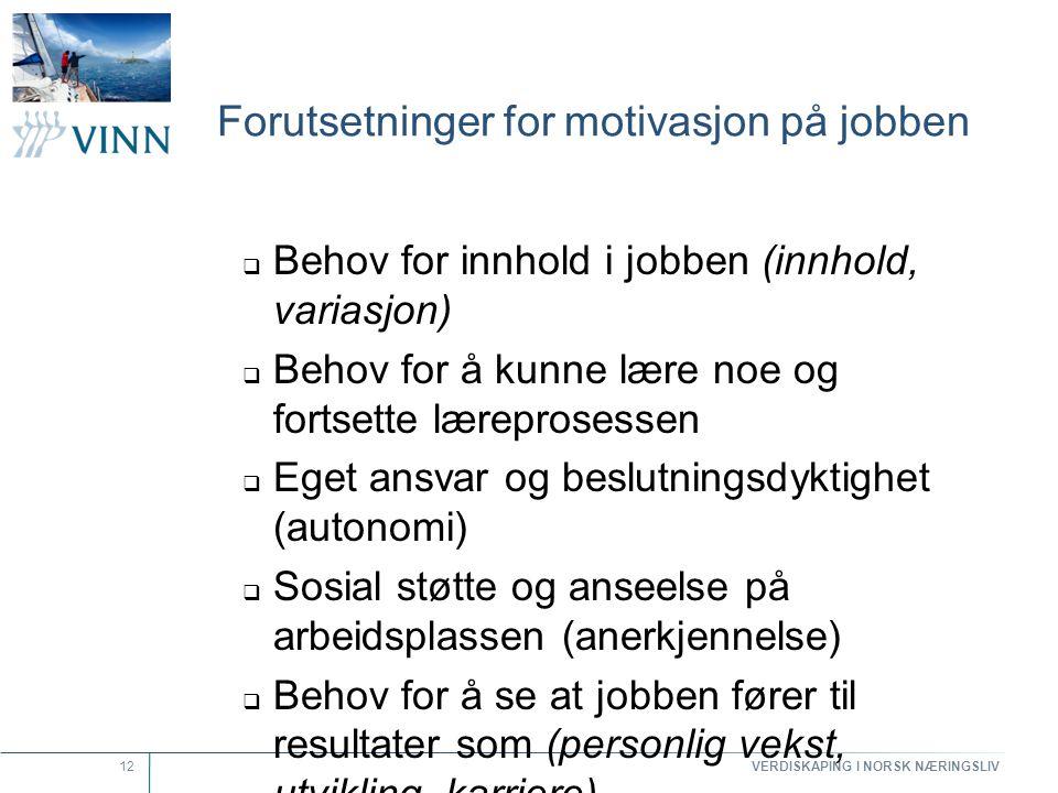 Forutsetninger for motivasjon på jobben