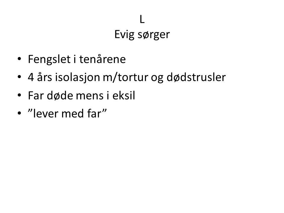 L Evig sørger Fengslet i tenårene. 4 års isolasjon m/tortur og dødstrusler. Far døde mens i eksil.