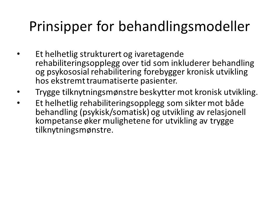 Prinsipper for behandlingsmodeller