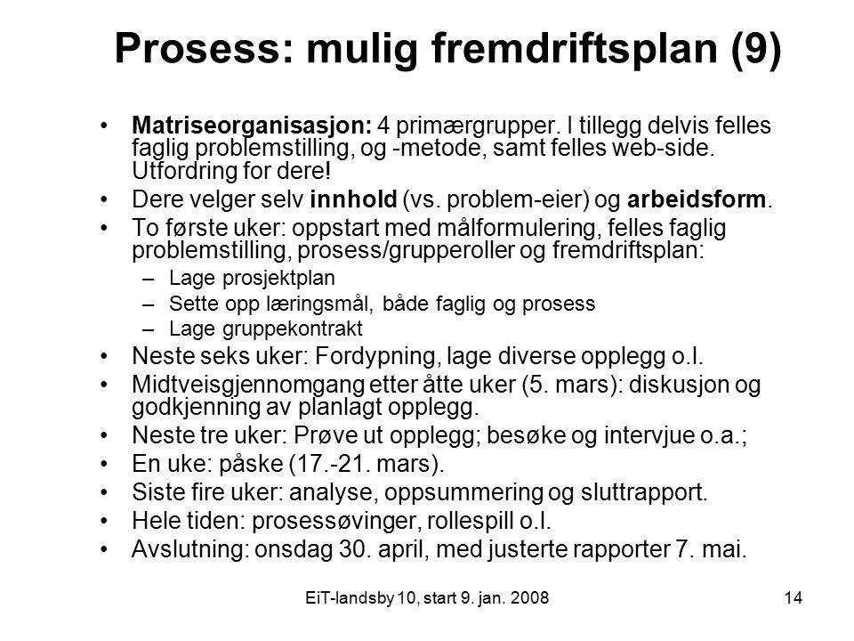 Prosess: mulig fremdriftsplan (9)