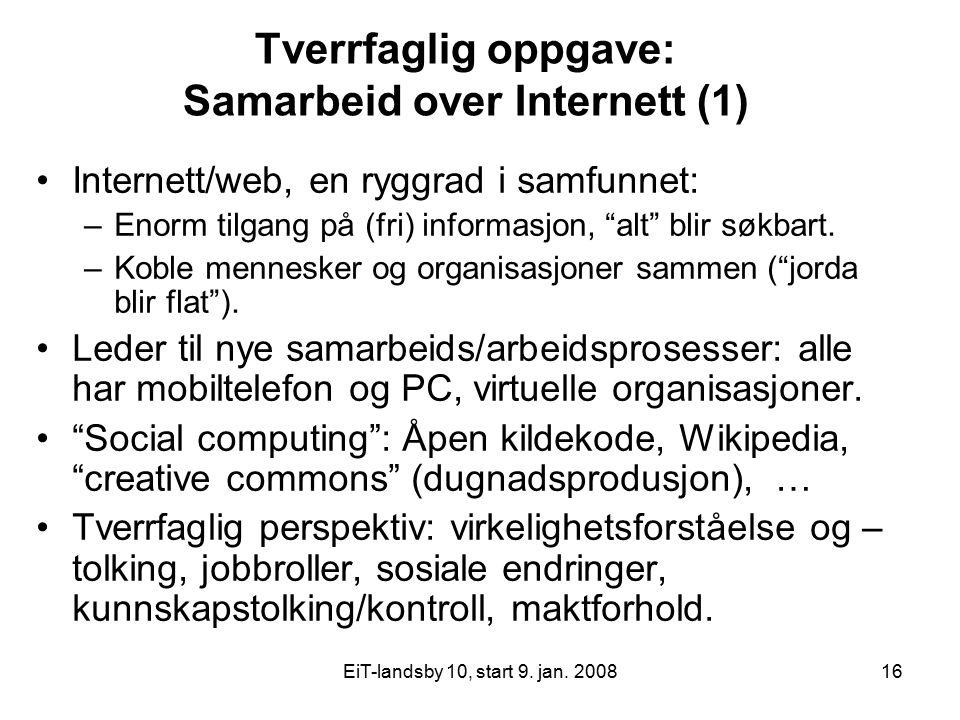 Tverrfaglig oppgave: Samarbeid over Internett (1)