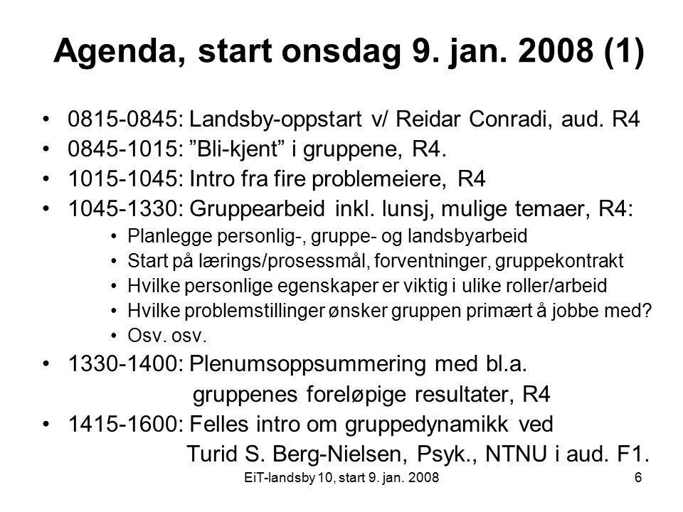 Agenda, start onsdag 9. jan. 2008 (1)